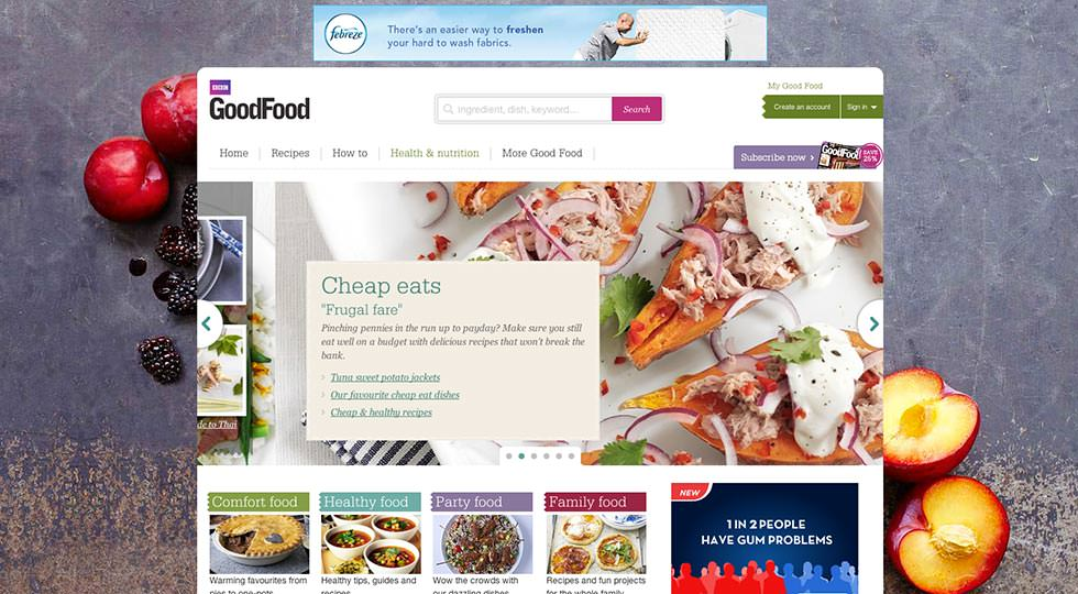 Picture of the BBC GoodFood Site